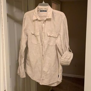 Tan Linen Shirt from Perry Ellis